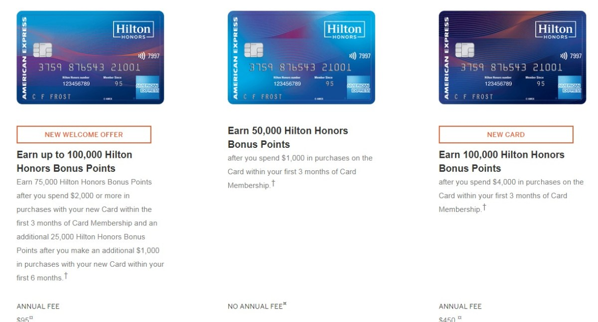 New American Express Hilton Cards Bonuses Announced, Total Of 350K Points Available